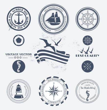 ancla: Juego de insignias de �poca retro n�uticas y etiquetas Vectores