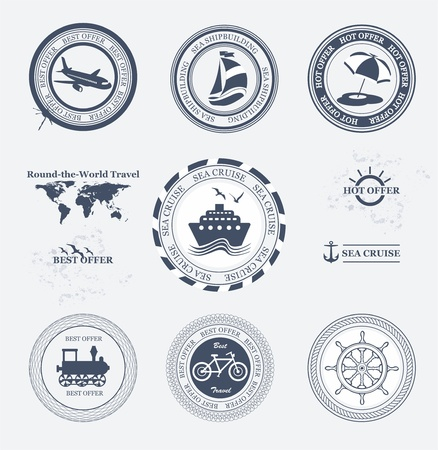 Set of vintage retro tourist badges and labels  Vector