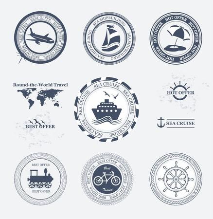 szynach: Zestaw odznak turystycznych Vintage Retro i etykiet