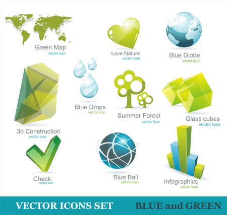 wax glossy: Eco friendly icon set in green and blue