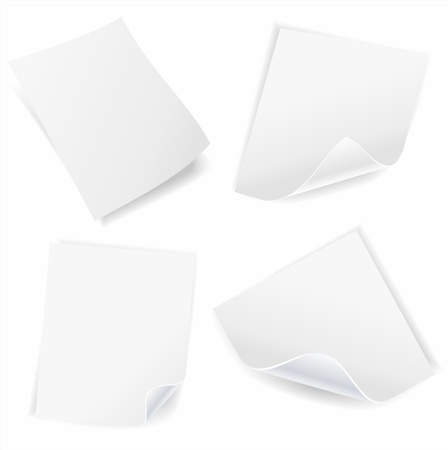 collection of various white note papers on white background Stock Vector - 13093587