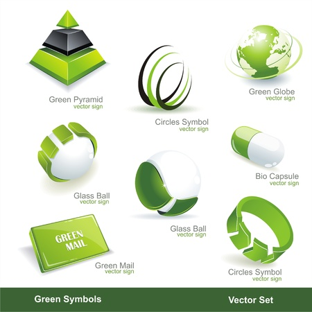 Eco related symbols and icons  Stock Vector - 13232547