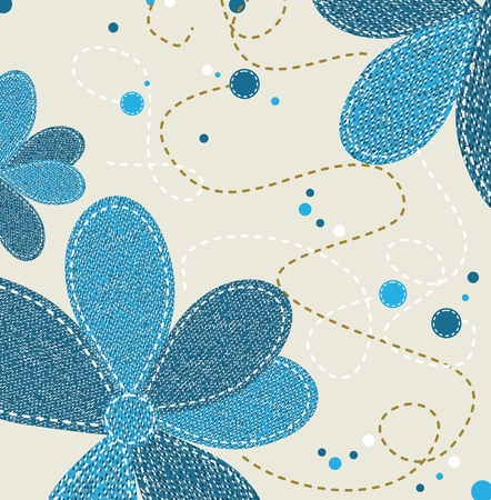 torn jeans: Jeans Texture with Flower ornament, vector illustration