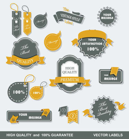 Vintage Styled Premium Quality  Labels and Ribbons collection with black grungy design   Vector