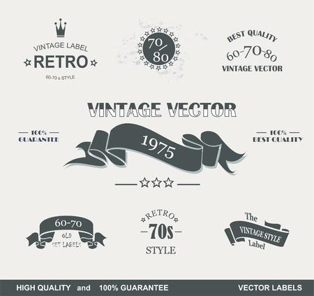 ruban noir: Vintage Styled Labels de qualit� haut de gamme et la collecte de rubans noir avec la conception grungy