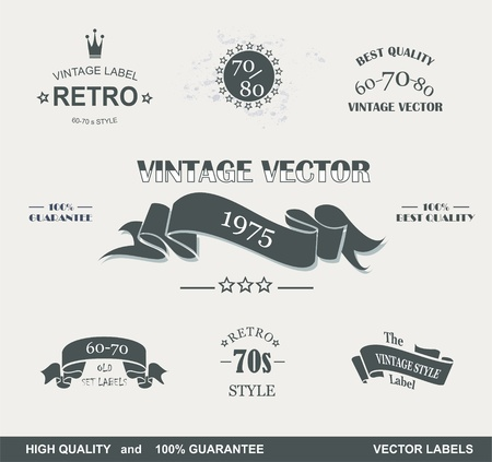 Vintage Styled Premium Quality  Labels and Ribbons collection with black grungy design   Illustration