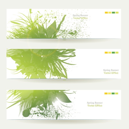 set of three banners, abstract headers with green blots