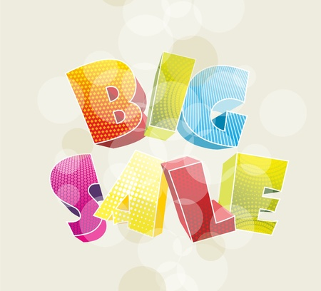 3d color text BIG SALE  Vector illustration  Vector