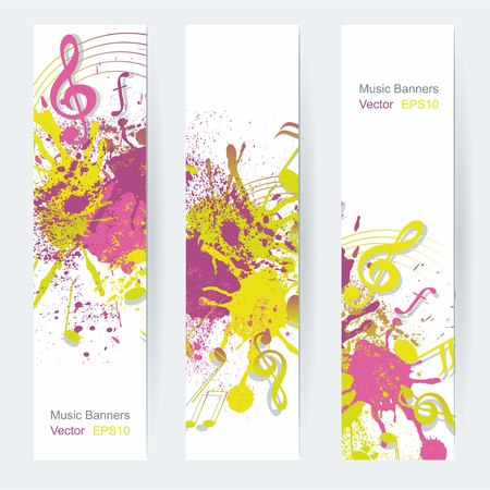 spatter: Music notes banner design, vector illustration