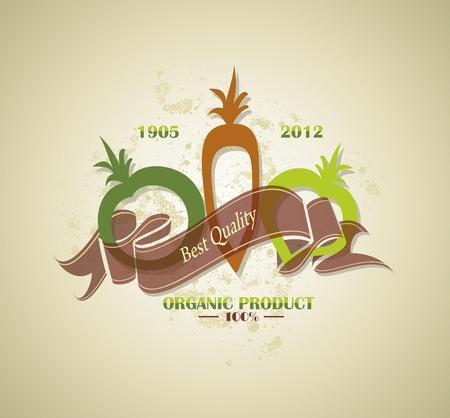 insignia de los alimentos frescos y de la granja orgánica o la etiqueta Ilustración de vector