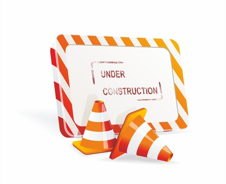 under construction sign: Under construction sign and traffic cone icons.