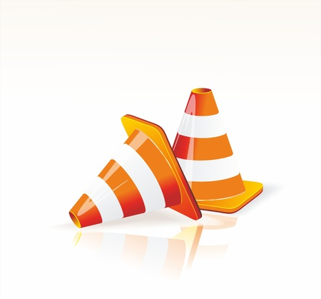 prestar atencion: Bajo el signo de la construcción y los iconos del tráfico de cono.
