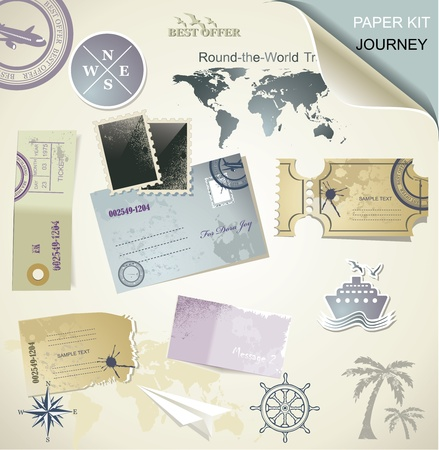 scrapbook frames: Journey -  paper objects for your travel