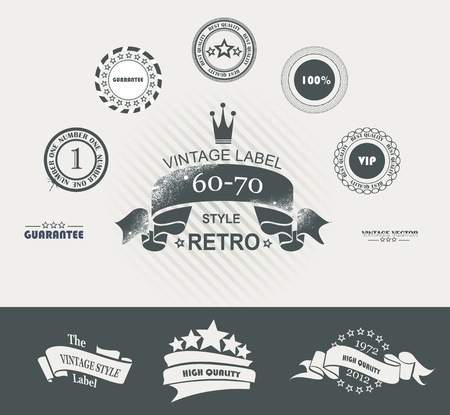 Vintage Styled Premium Quality Labels and Ribbons collection with black grungy design.  Illustration