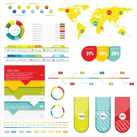 World Map and Information Graphics  Illustration