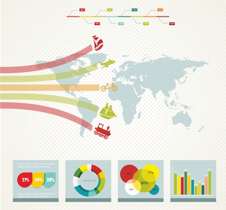 elements of infographics with a map  in retro style  Vector