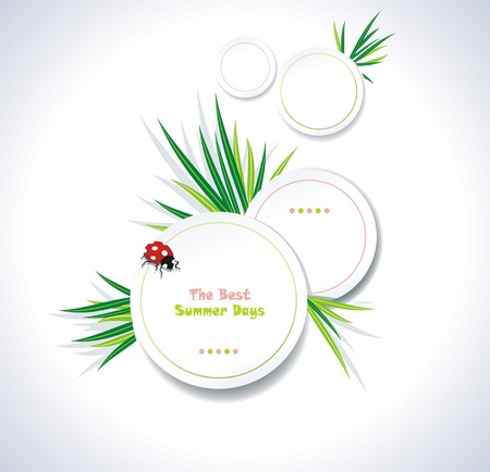 Clean summer stickers with grass Vector