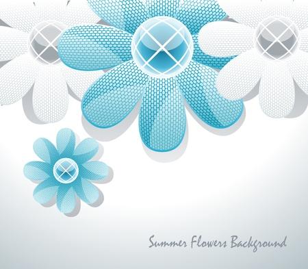 3d glass flowers  Illustration