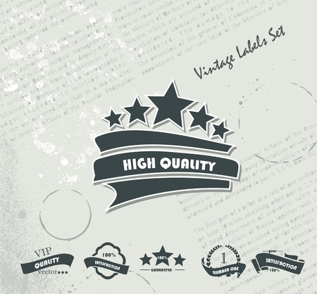 Collection of Premium Quality and Guarantee Labels on the Old Newspaper  Vector