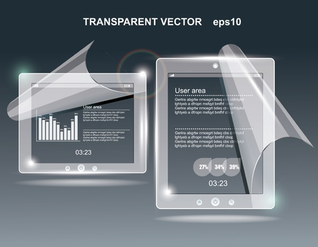 virtual space: touchscreen tablet with a transparent buttons.