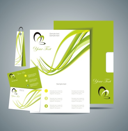 Corporate Identity Template Vector with green background Vector