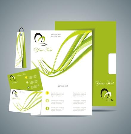 membrete: Identidad Corporativa plantilla vector con el fondo verde Vectores