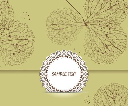 Floral Background with Vintage Label  Vector