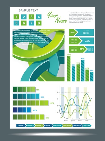 Blue and green technological banner with Information Graphics