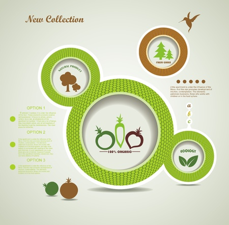 Set of organic and farm fresh food bubbles Vector