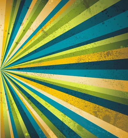 Multicolor beams grunge background. A vintage poster. Vector