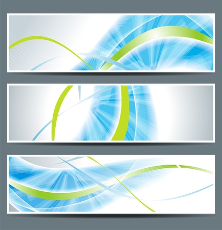 header label: set of three banners, abstract headers with blue lines