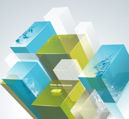 parallelepiped: 3d bright abstract background