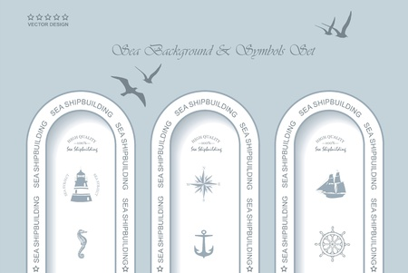 Vintage Web design. Set of vintage retro nautical badges and labels Vector