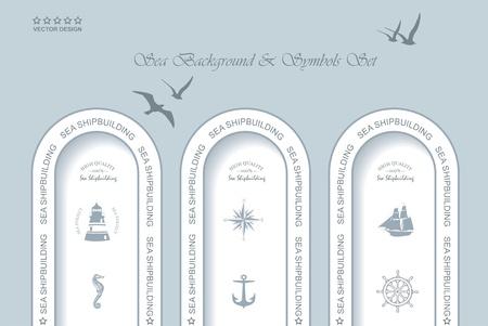 Vintage Web design. Set of vintage retro nautical badges and labels Stock Vector - 15589934