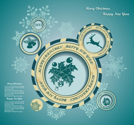 Christmas background with retro bubbles Vector