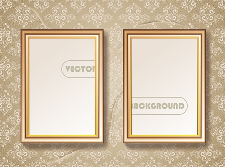 baroque picture frame: Vintage gold picture frame Illustration