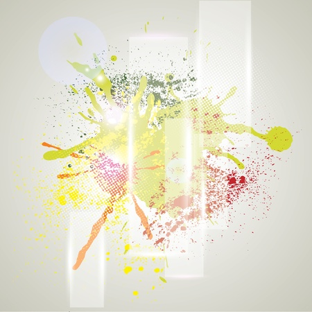 Bright grunge background with splashes of paint  Vector