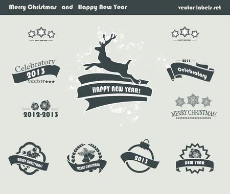scrap trade: Set di etichette di Natale Retro Vettoriali
