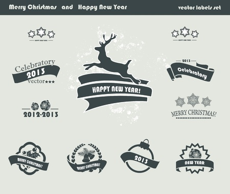 Set of Retro Christmas Labels Vector
