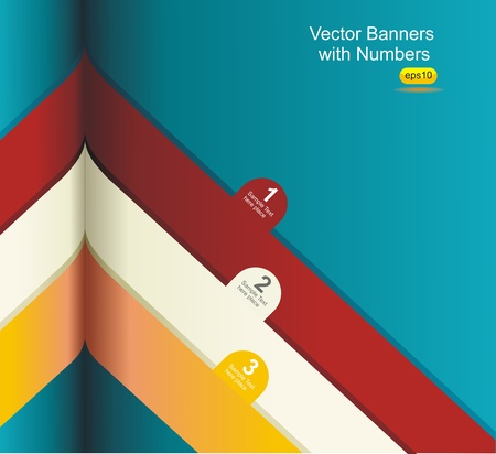 Modern Design template  Numbered banners Cutout lines   Vector