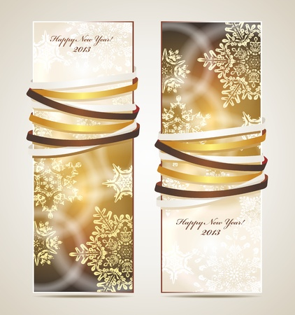 happy new year banner: Greeting cards with ribbons, snowflakes and copy space. Illustration