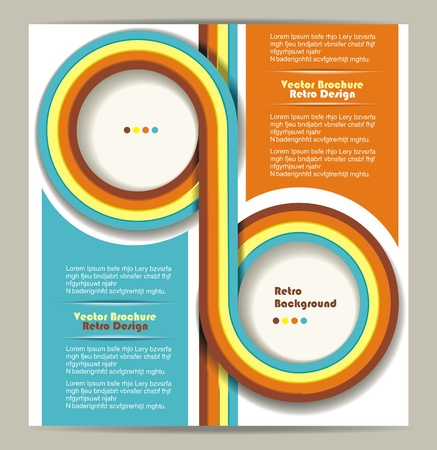 Brochure design with grungy retro background  Vector