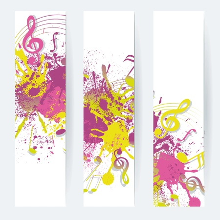 Music notes banner design, vector illustration  Vector