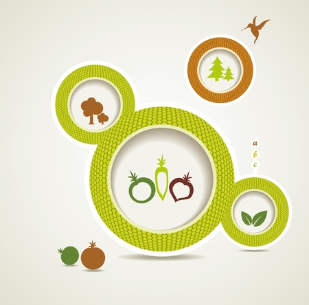 Set of organic and farm fresh food bubbles Stock Vector - 16612589