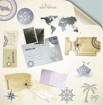 voyage: Journey - objetos de papel para viajar Vectores