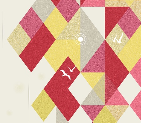 Retro Geometric Background with birds