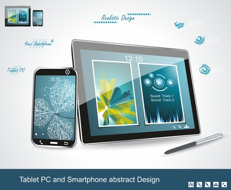 Black glossy tablet PC and touchscreen smartphone isolated on white reflective background  Illustration