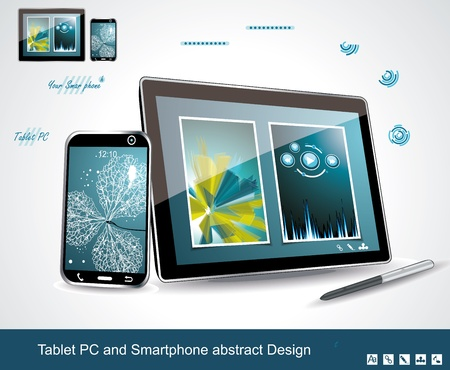 Black glossy tablet PC and touchscreen smartphone isolated on white reflective background  Vector