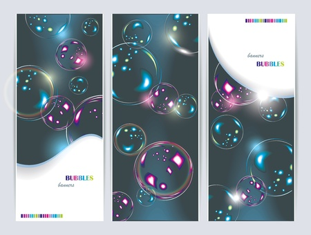 extremely: Soap bubbles isolated on  black banners. Extremely detailed. Illustration