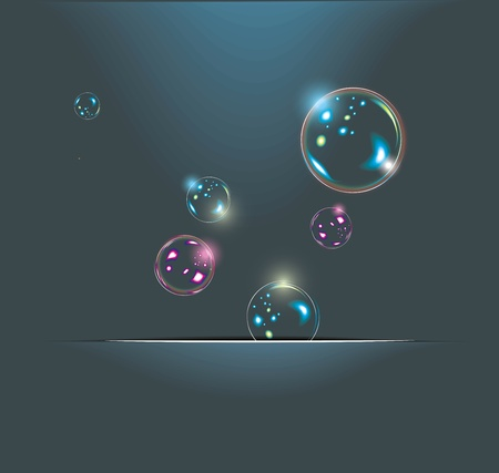 Soap bubbles isolated on black. Extremely detailed. Vector